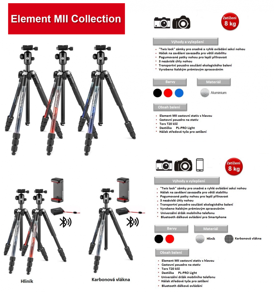 Manfrotto Element MII Collection